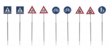 Artitec 387.215 - NL-verkeersborden: voetganger, fiets, trein 9 stuks  ready 1:87