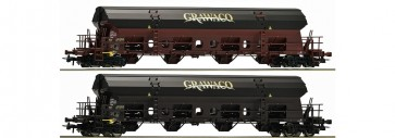 Roco 76135 - Twee zwenkdakwagens Grawaco, NL