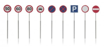Artitec 387.262 - NL-verkeersborden: snelheid, parkeer, verbod 9 stuks  ready 1:87