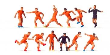Preiser 10761 - 1:87 Voetbalteam oranje shirt- oranje broek - scheidsrechter