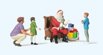 Preiser 10763 - 1:87 Kerstman in stoel, moeder en kinderen