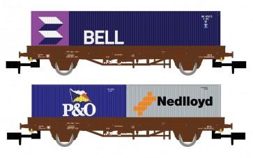 "Arnold HN6400 - NS 2-delige plattewagen set met containers  ""BELL/P&O/NEDLLOYD"""