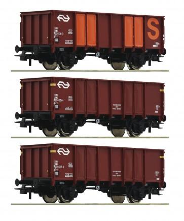 Roco 76062 - 3-delige set hogeboordwagens NS