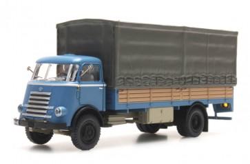 Artitec 487.040.02 - DAF open bak met huif, cab.'55, blauw met hout  ready 1:87