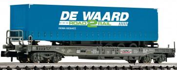 """Fleischmann 845369 - Einheitstaschenwaggon mit """"DE WAARD""""-Aufleger, HUPACNS"""