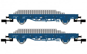 Arnold HN6401 - NS 2-delige plattewagenset met betonnen dwarsliggers