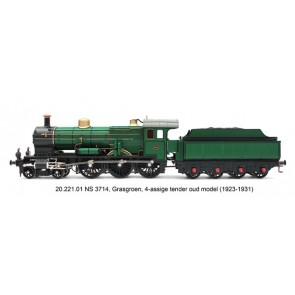 Artitec 22.221.01 - Stoomloc NS 3714 GRASGROEN 4-ASSIGE TENDER DC LokSound