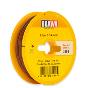 Brawa 3154 - Schaltlitze 0,14 mm², 25 m Spule, braun