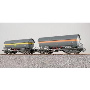 Esu 36520 - Gas-Kesselwagen Set, H0, ZAG 620, EVA 538 857 + BP 581 709, DB, Ep. III, Vorbildzustand um 1963, grau, DC