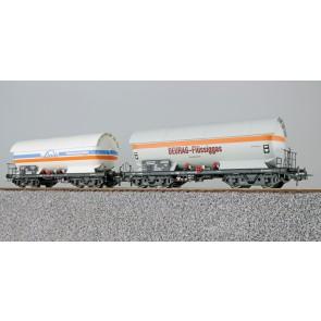 Esu 36525 - Gas-Kesselwagen Set, H0, ZAG 620, Linde 33 80 761 5 005-5 + Deurag 21 80 006 5 653-6, DB, Ep. IV, Vorbildzustand um 1980,weiß,DC
