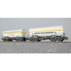 Esu 36526 - Gas-Kesselwagen Set, H0, ZAG 620, Frankf. Kohlensäure 565 623 + AGEFKO 564 420, DB, Ep. III, Vorbildzustand um 1963, weiß, DC