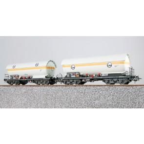 Esu 36528 - Gas-Kesselwagen Set, H0, ZAG 620, EVA 33 80 771 4 035-2 + EVA 33 80 771 4 052-7, DB, Ep. IV, Vorbildzustand um 1987, weiß, DC