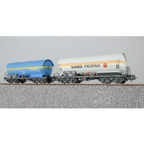 Esu 36529 - Gas-Kesselwagen Set,H0,ZAG 620,Wacker 33 80 715 5 024-2+Sano-Propan 21 80 005 5 052-3,DB,Ep. IV,Vorbild um 1981,blau+weiß,DC