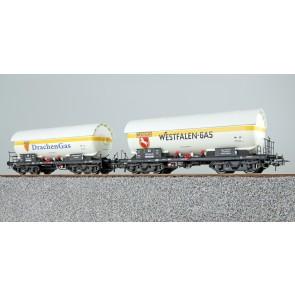 Esu 36530 - Gas-Kesselwagen Set, H0, ZAG 620, Westfalen Gas 525 843 + Drachen Gas 559 164, DB, Ep. III, Vorbildzustand um 1963, weiß, DC