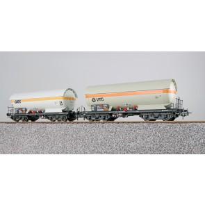 Esu 36531 - Gas-Kesselwagen Set, H0, ZAG 620, GATX 33 80 751 5 016-3 + VTG 33 80 771 4 009-7, DB, Ep. V, Vorbildzustand um 2002,weiß+grau,DC