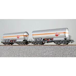 Esu 36532 - Gas-Kesselwagen Set, H0, ZAG 620, OEVA 33 81 783 6 092-5 + OEVA 33 81 783 6 094-1, ÖBB, Ep. IV, Vorbildzustand um 1972,silber,DC