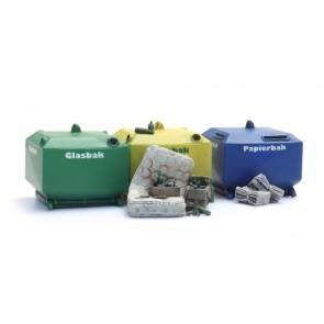 Artitec 387.458 - Glasbak en papierbak set (2x glasbak, 1x papierbak en rommel)