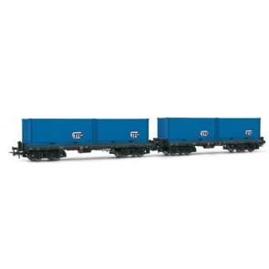 Rivarossi HR6103 - 2-delige containerwagenset met TFG containers