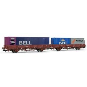 Rivarossi HR6122 - 2-delige Containerwagen met BELL en NedLoyd containers