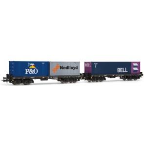 Rivarossi HR6134 - 2-delige containerwagenset met containers