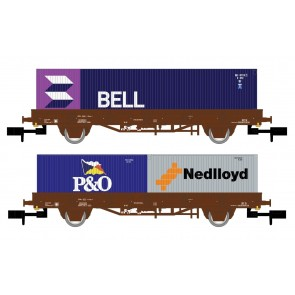 "Arnold HN6400 - NS 2-delige plattewagen set met containers  ""BELL/P&O/NEDLLOYD"""