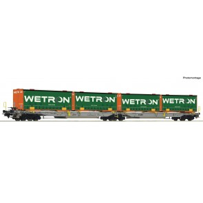 Roco 67401 - Dubbele containerwagen T2000 + containers Wetron