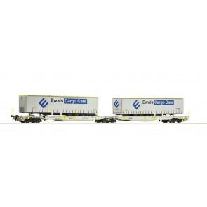 Roco 76437 - Dubbele AAE-draagwagen met Ewals opleggers NL