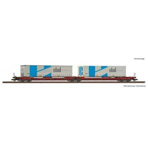 Roco 77386 - Dubbele containerwagen T3000e + Ekol wissellaadbakken