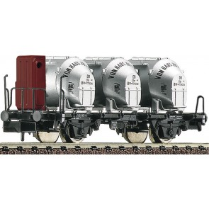 Fleischmann 823701 - Behältertragwagen Bauart Bt10 mit Bremserhaus und Efkr Behältern, DB