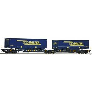 Fleischmann 825001 - Doppeltaschen-Gelenkwagen T2000 der WASCOSA mit LKW WALTER-Aufliegern