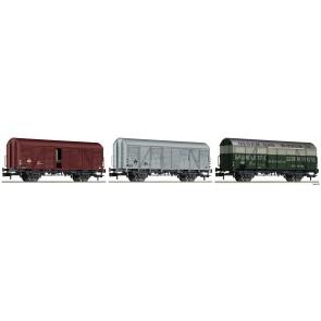 Fleischmann 831603 - 3-tlg. Set gedeckte Güterwagen Bauart Gs, NS