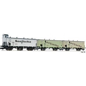 """Fleischmann 881810 - 3-tlg. Güterwagenset """"Seefische"""", DRG"""