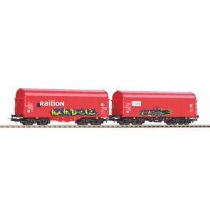Piko 58378 - 2er Set Schiebeplanenwg. Caib und Railion NS mit Graffiti V