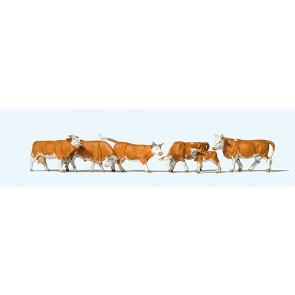 Preiser 10146 - 1:87 Koeien roodbont