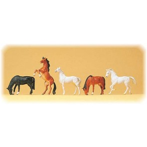 Preiser 10156 - 1:87 Paarden assorti