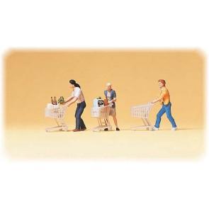 Preiser 10488 - 1:87 Figuren met winkelwagen