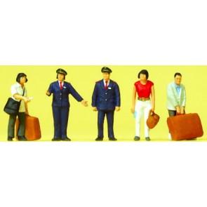 Preiser 10570 - 1:87 Chinese reizigers en spoorwegpersoneel