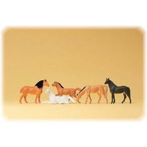 Preiser 14150 - 1:87 Paarden assorti