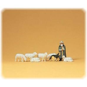 Preiser 14160 - 1:87 Schaapskudde met herder en hond