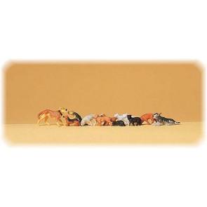 Preiser 14165 - 1:87 Honden en katten assorti