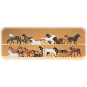 Preiser 14407 - 1:87 26 pcs paarden assorti