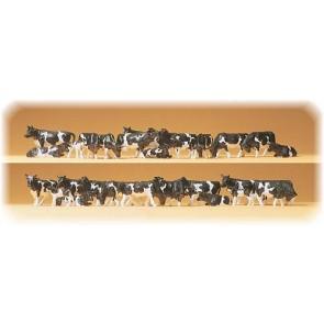 Preiser 14408 - 1:87 30 pcs koeien assorti zwartbont