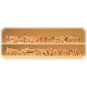 Preiser 14409 - 1:87 30 pcs koeien assorti roodbont