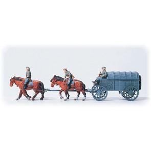 Preiser 16512 - 1:87 Bevoorradingswagen met paardentractie