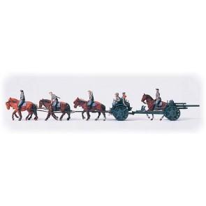 Preiser 16513 - 1:87 Lichte veldhouwitser, paarden tractie