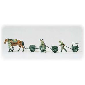Preiser 16547 - 1:87 Infanteriekarren. Hand- en paard getrokken