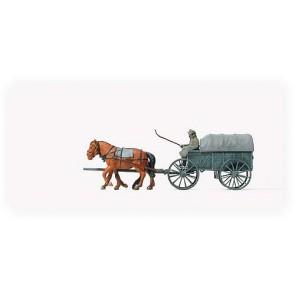 Preiser 16570 - 1:87 Paard en wagen Duitse leger