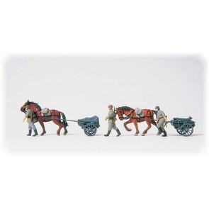 Preiser 16576 - 1:87 Munitietransport met paarden