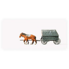 Preiser 16588 - 1:87 Paard en wagen Duitse leger