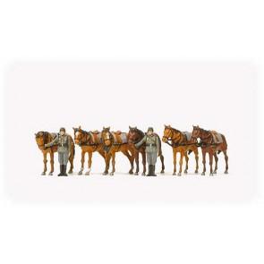 Preiser 16597 - 1:87 Paarden met 2 militairen